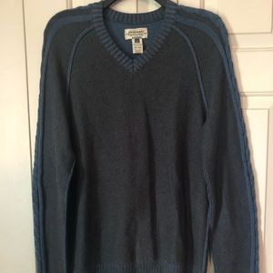 American Rag Grey V-Neck Sweater with Blue Detail